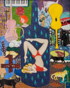 A woman in a bathing suit standing on her head, lots of yellow, blues, and red, cats and guitars